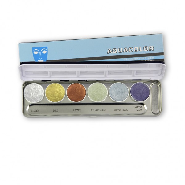 Aquacolor Metallic Palette 6 Farben, Inhalt 20 ml